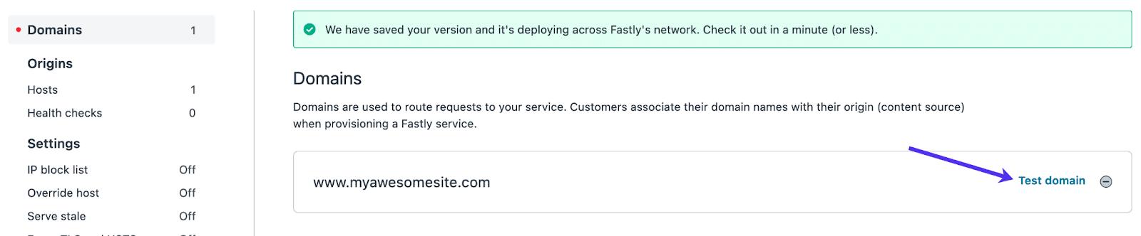Öffne deine Fastly Test Domain.