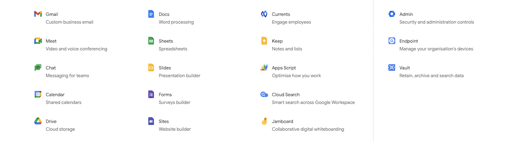 All of the apps available with a Google Workspace account.