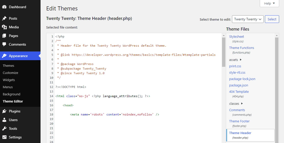 """The """"Edit Themes"""" view in WordPress showing the addition of noindex, nofollow in header.php"""