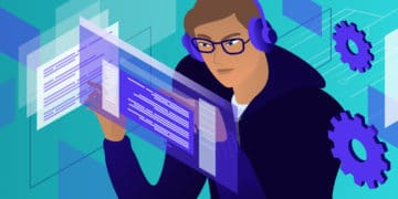 How to Become a Web Developer featured image. An illustration of a man in headphones and a hoodie looking at text on a screen.