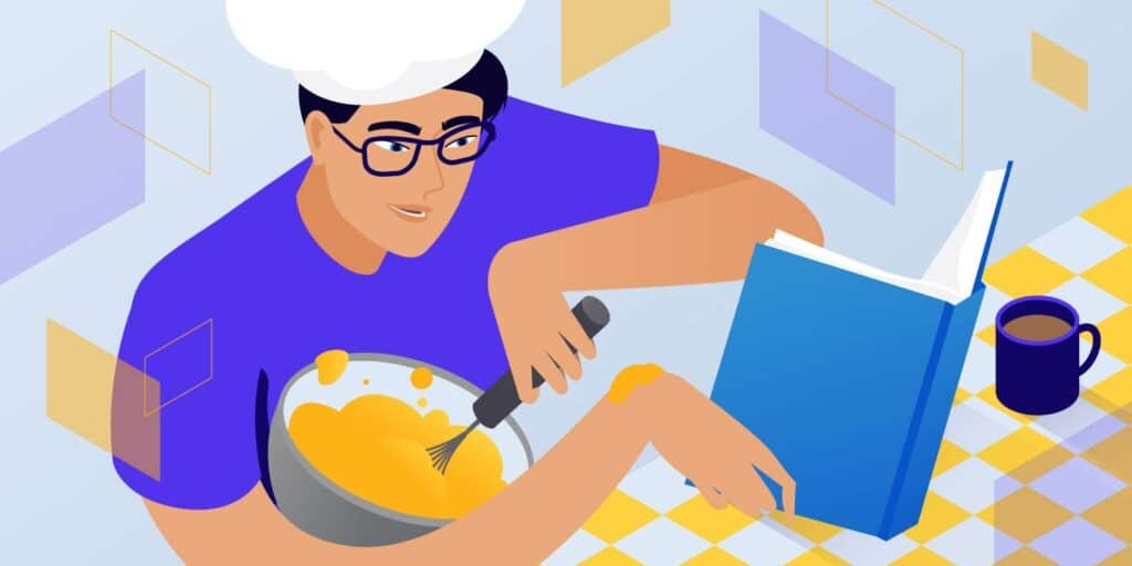 Figure of a man whisking ingredients and reading at the same time. HTML best practices, featured image.