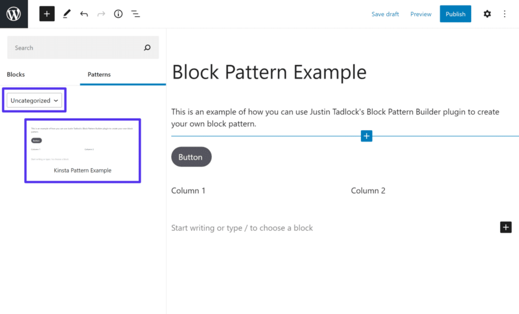 Indsætter det tilpassede block patterns, du har oprettet