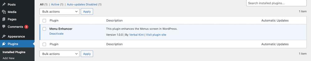 Un nuevo plugin instalado en WordPress