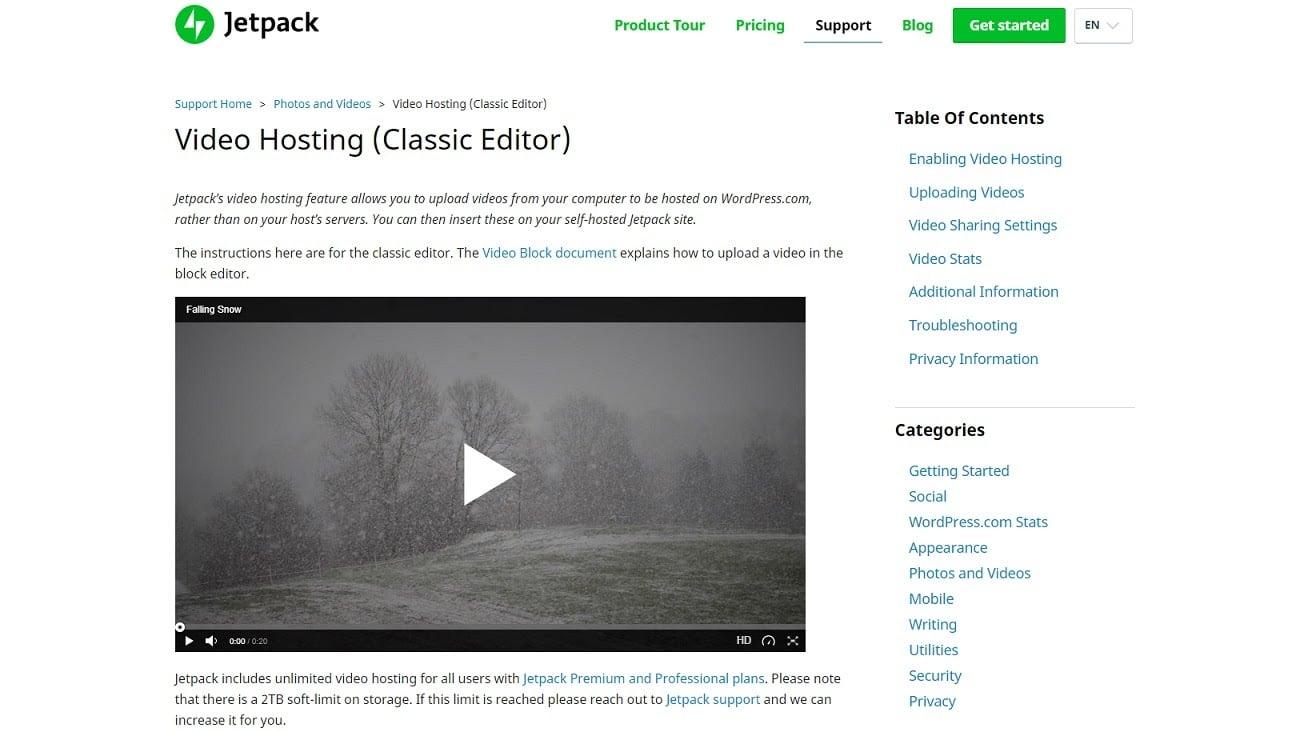 Jetpack's Video Hosting feature screenshot.