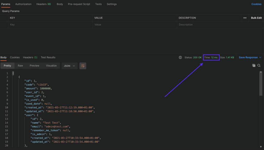 Temps de réponse de l'API Laravel avec le cache.