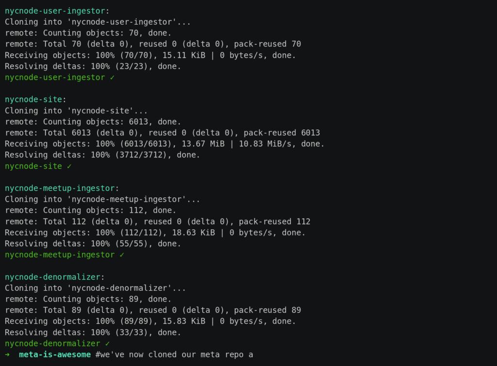 Cloning a meta project