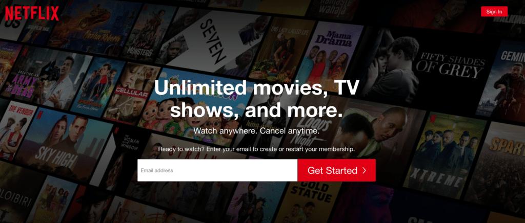 A screenshot of Netflix's homepage