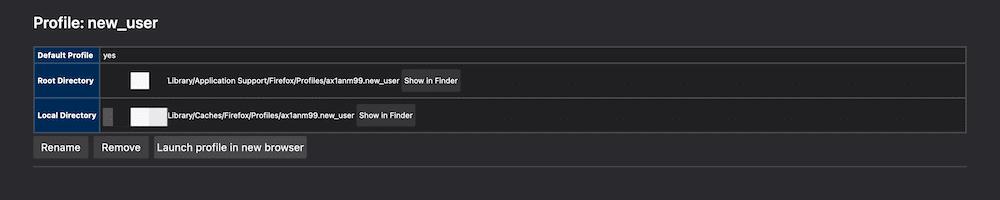 Een nieuwe gebruiker in de Firefox Profile Manager.