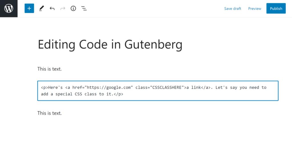 HTML-editoren for en enkelt blok