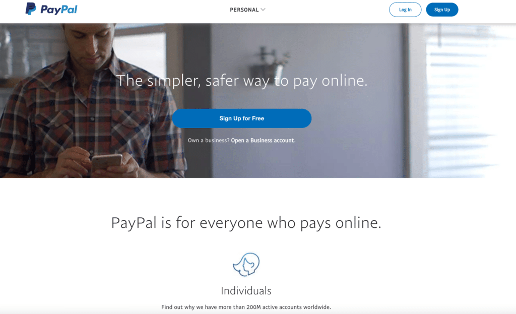 A screenshot of PayPal's homepage