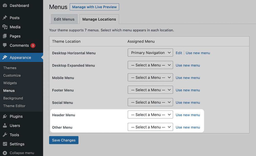 Registro de menús en WordPress.