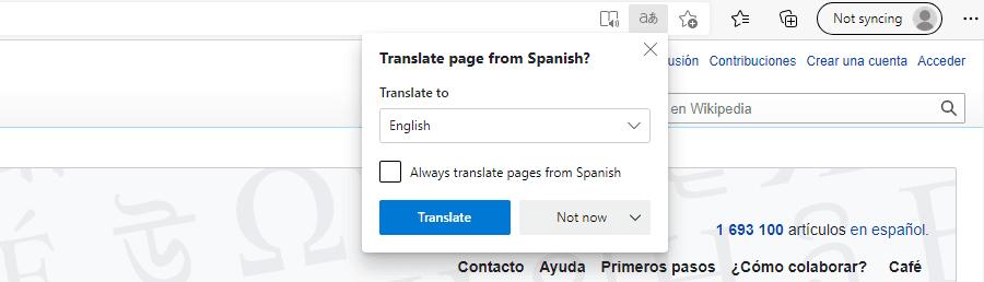 "De ""Translate page"" prompt in Microsoft Edge."