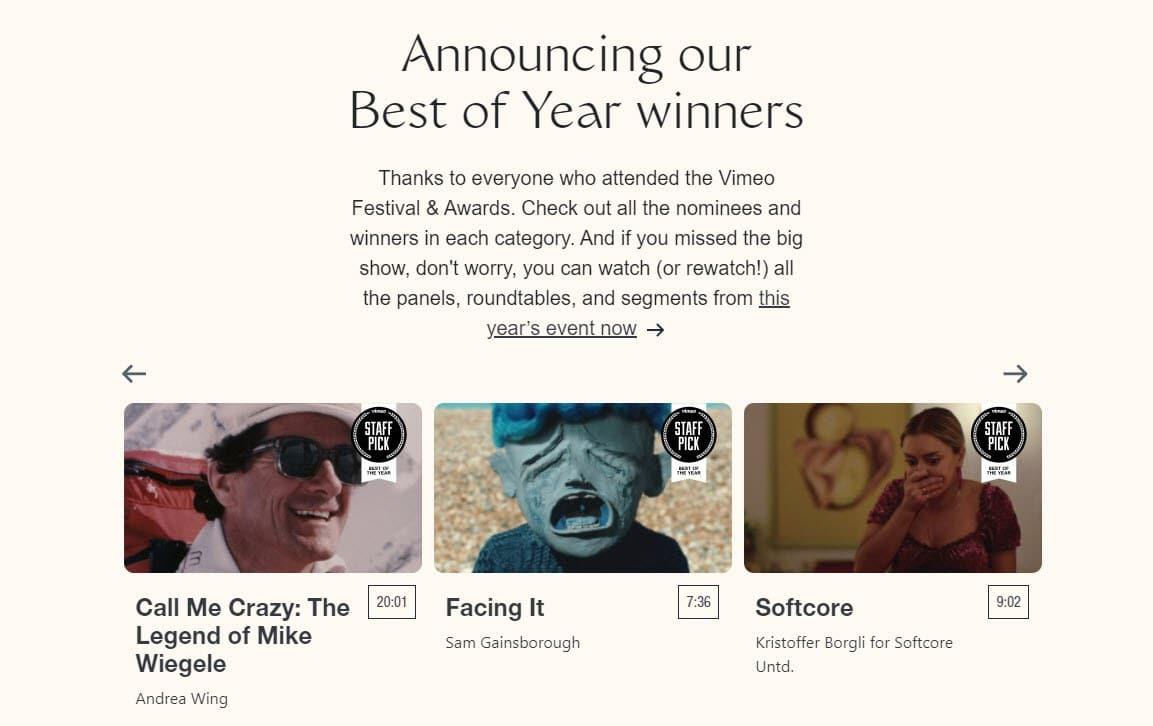 Vimeo Festival & Awards screenshot.