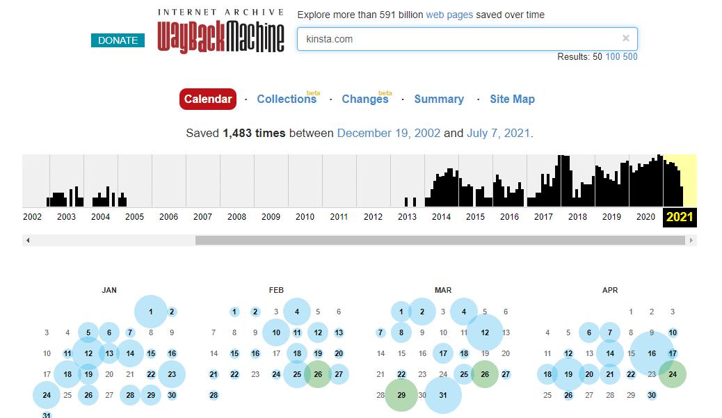 Screenshot of Wayback Machine showing results for Kinsta.com