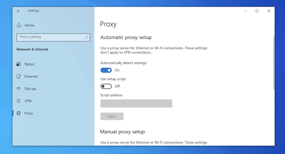 De instellingen voor de proxy in Windows.