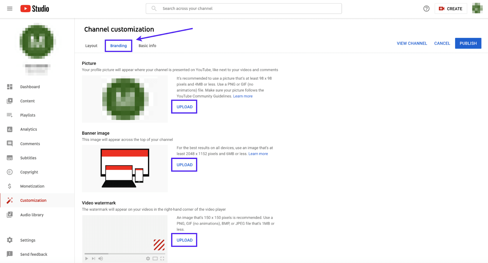 YouTube's channel customization view with an arrow pointing to the Branding tab