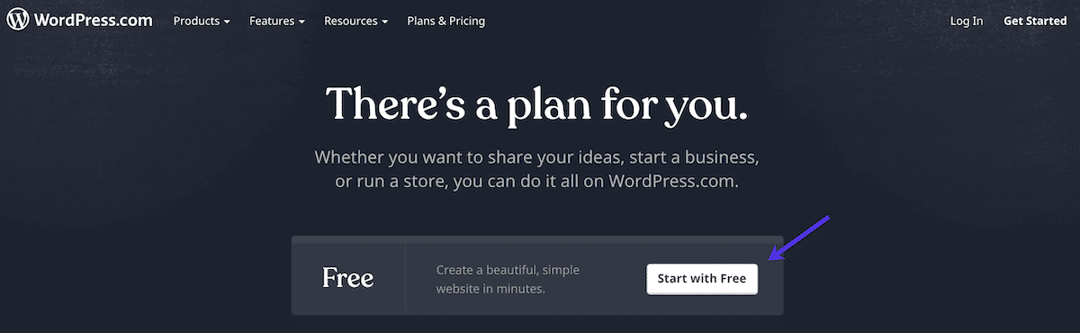"""Click on the """"Start with free"""" button"""