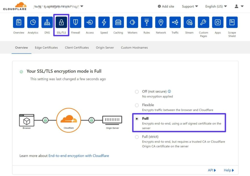 """How to change Cloudflare SSL settings to """"Full""""."""
