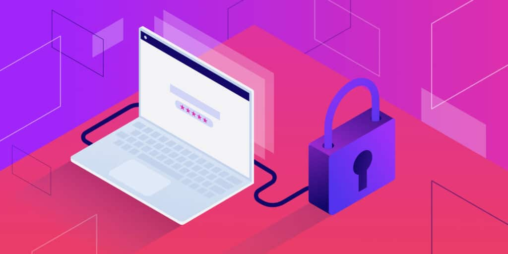 Illustration for domain privacy showing a laptop connected by a cable to a giant locked padlock.