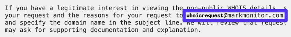 MarkMonitor's forwarding email address.