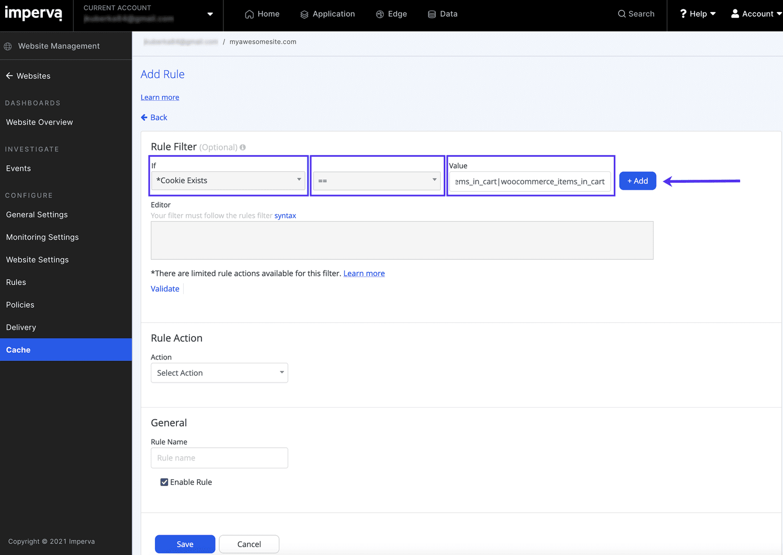 Defina o filtro para sua regra de cache personalizada.
