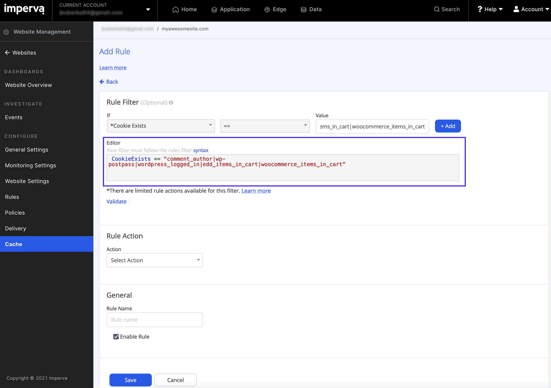 Nova regra de cache personalizada no editor de regras de cache.