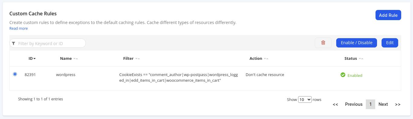 Nova regra de cache personalizada foi salva e ativada.