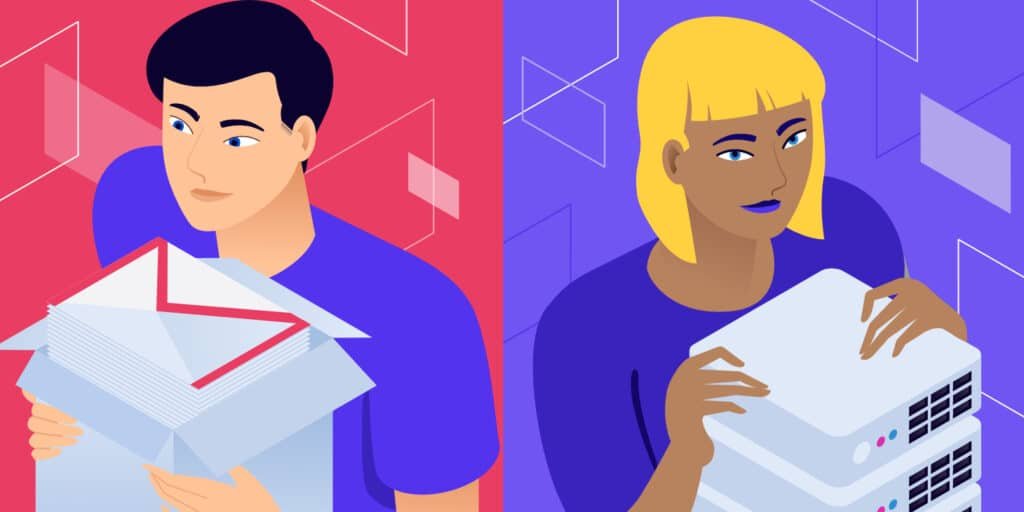 """Illustration for """"Keep Email and Hosting Separate"""" showing two people side-by-side, one holding an emails stacks and the other a server rack."""