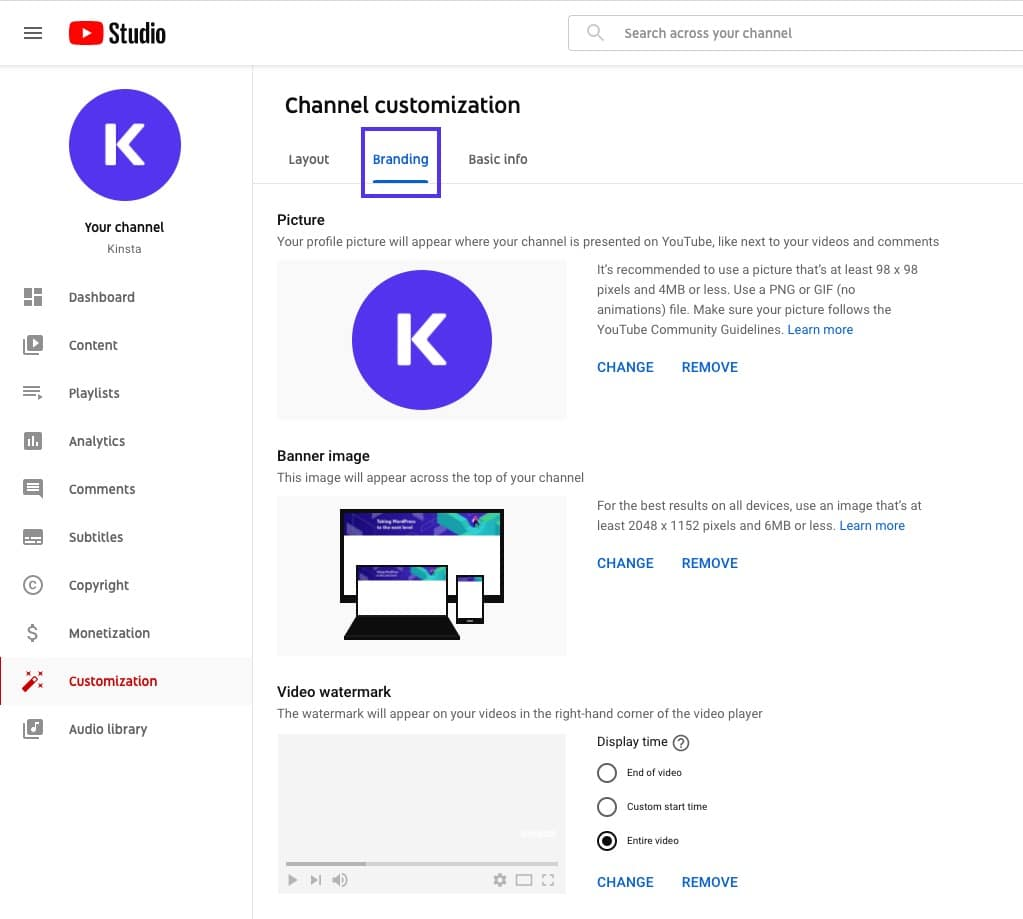 Branding assets being added to your YouTube channel.