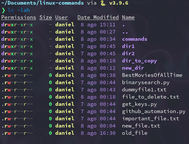 List command showing new date.