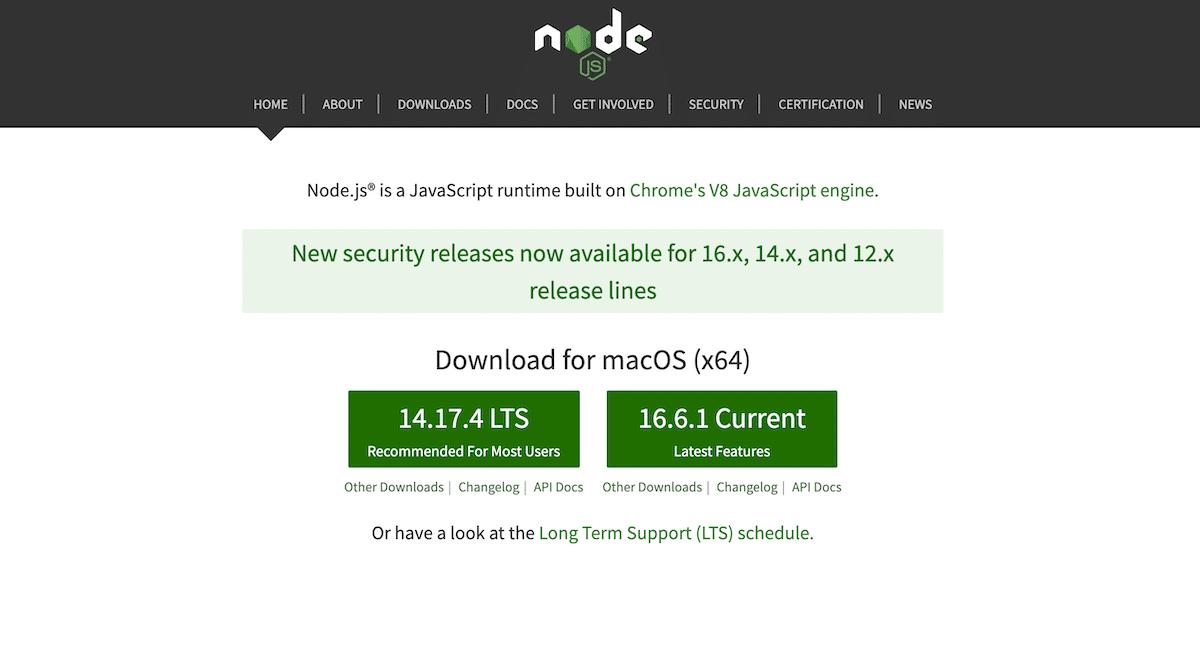 Screenshot of the Node.js website homepage.