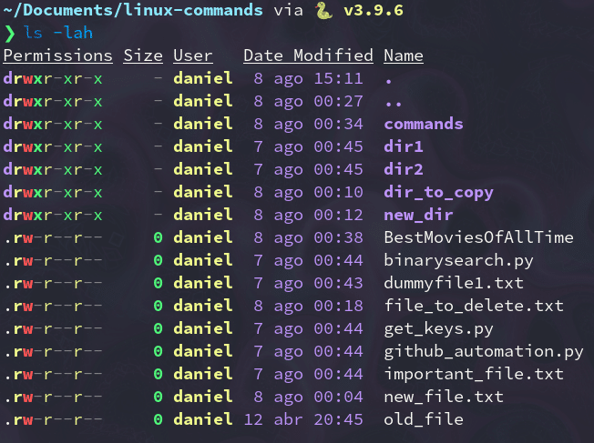List command showing modifying dates of a set of files.