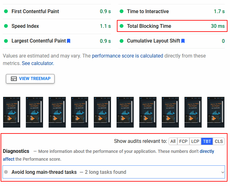 PageSpeed Insights Total Blocking Time.