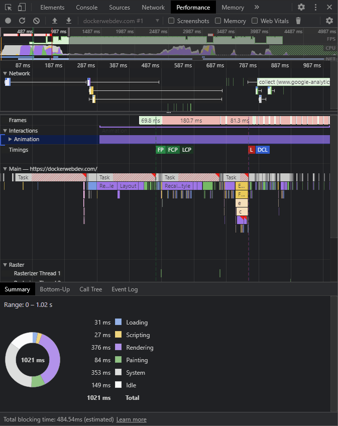 DevTools Performance Report to help optimize css