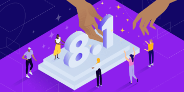 Colorful illustration of assembling PHP 8.1 by a team.