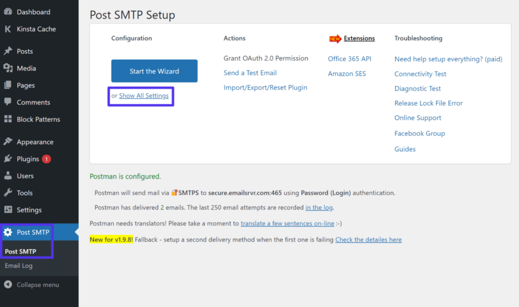 How to access all settings in the Post SMTP plugin in WordPress.