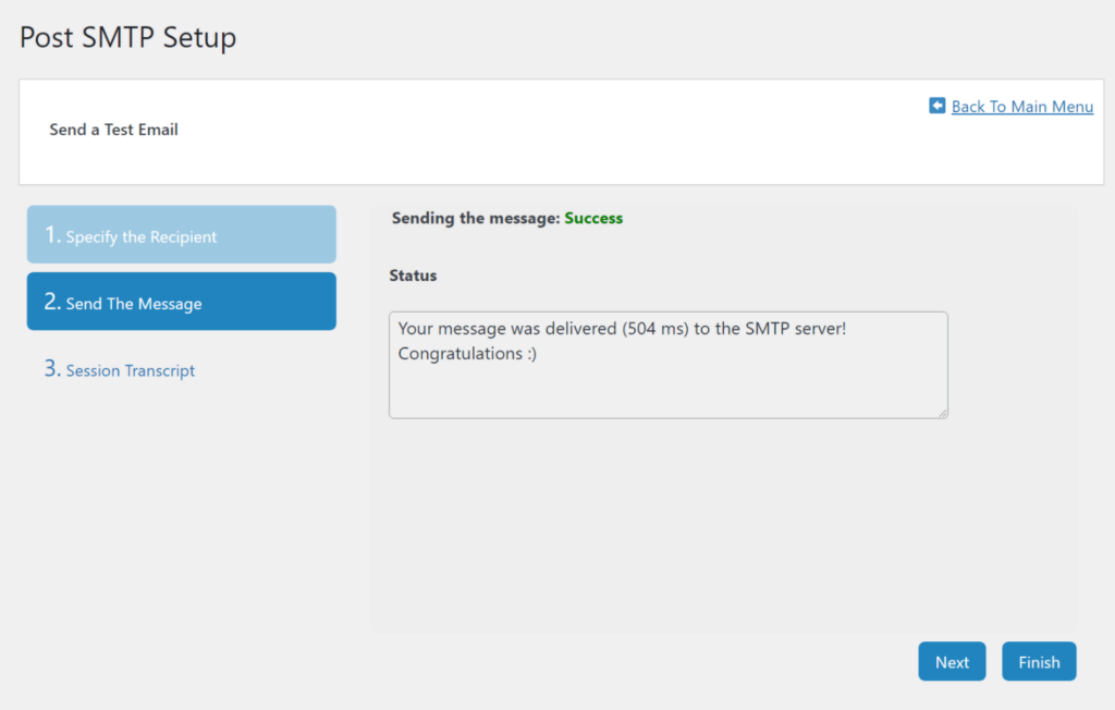 The success message shown after properly configuring and testing Post SMTP.