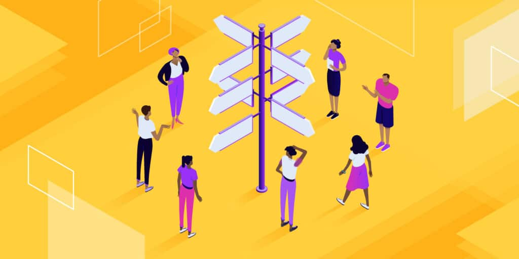 """Illustration for """"this page isn't redirecting properly"""" of confused-looking people gathered around a signpost pointing in many directions."""