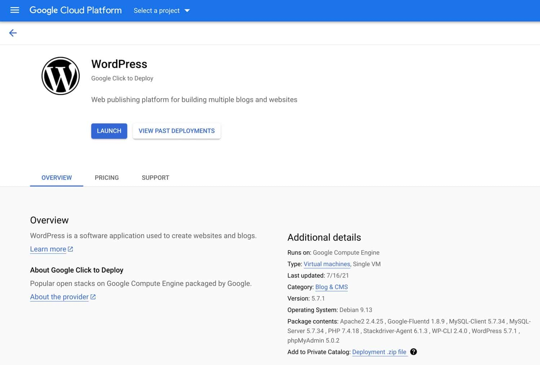 Deploy WordPress on Google Cloud Platform.