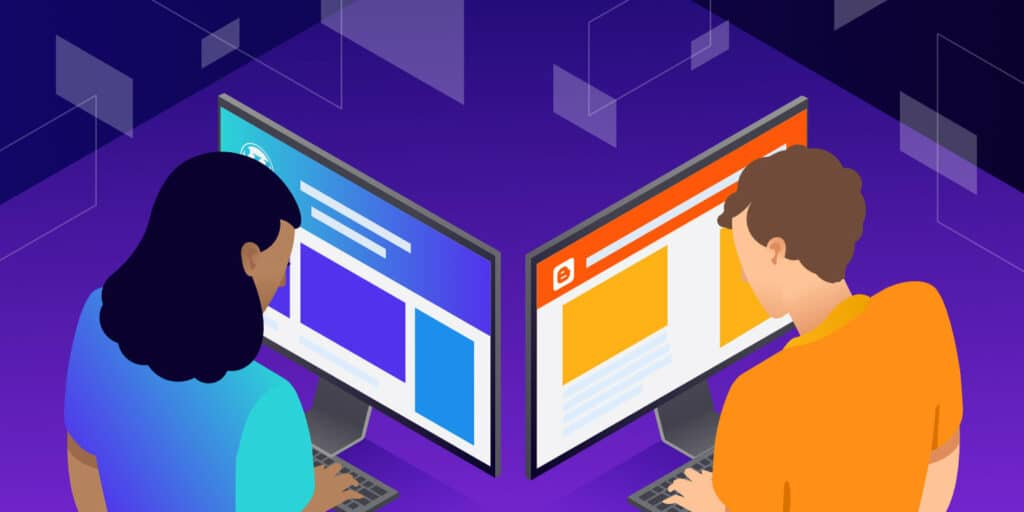 Illustration for WordPress vs Blogger showing two people staring at their own computers.
