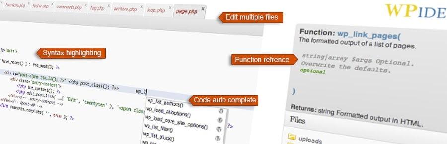 WPide abstract wordpress plugin