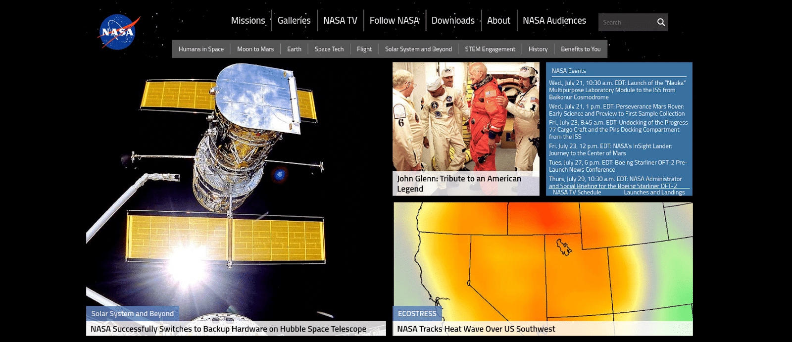 NASA's homepage screenshot.