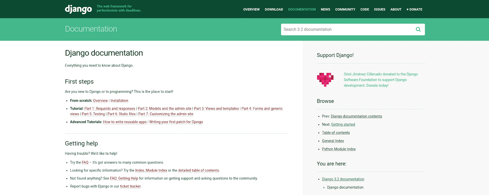 Screenshot of the Django documentation page.