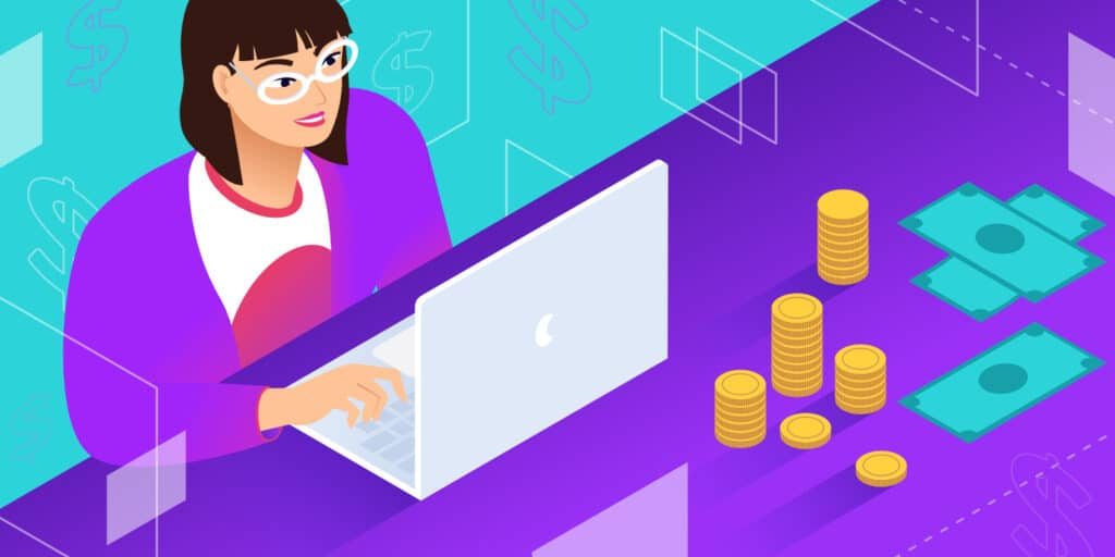 Illustration for frontend developer salary showing someone working on a laptop surrounded by stacks of coins and paper money.