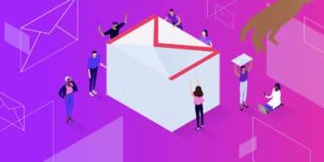 Illustration for Gmail attachment size limit showing tiny figures gathered around a large stack of envelopes with the Gmail logo.