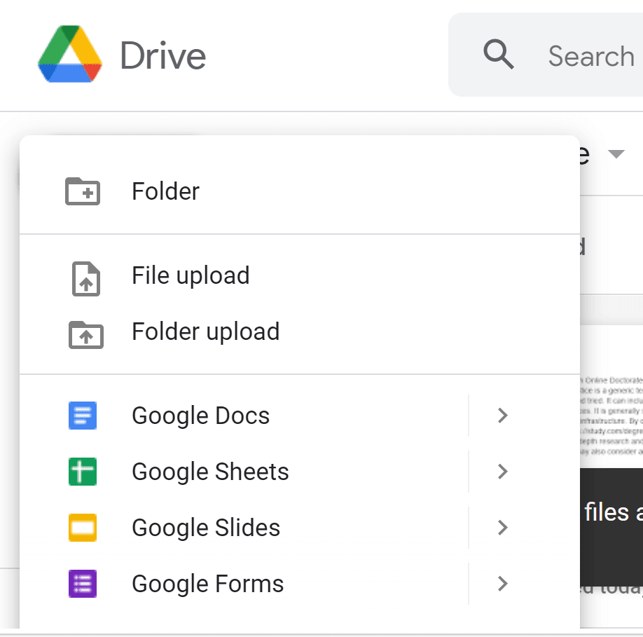 """A screenshot of the Google Drive """"New"""" menu, including such options as """"Folder,"""" """"File upload,"""" and """"Folder upload."""""""