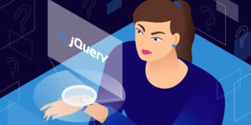 """Illustration for the """"jQuery is not defined"""" error showing a woman staring at an error screen panel."""