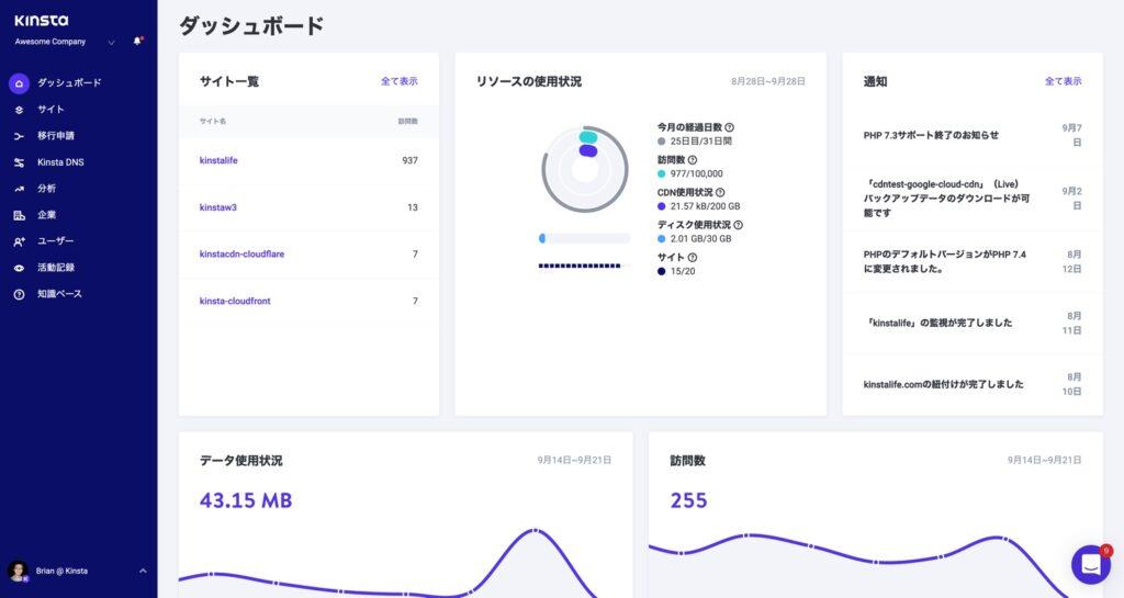 MyKinsta dashboard in Japanese.