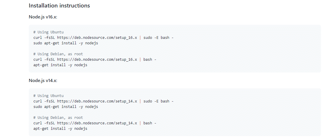 Node.js Ubuntu installation instructions.