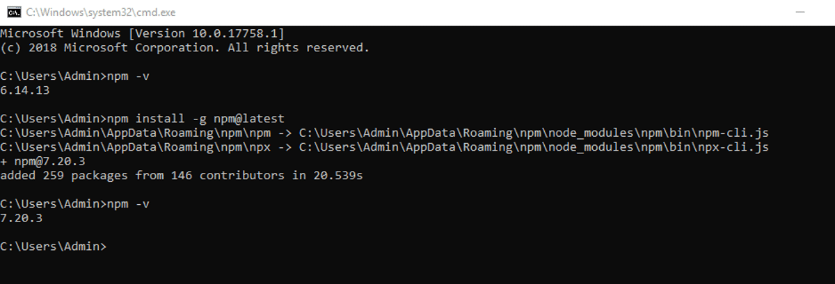 Updating npm version on Windows.